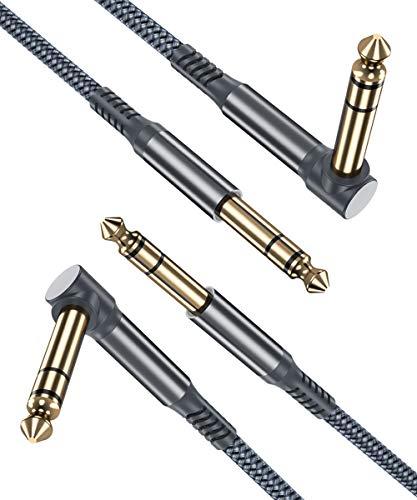Cable de 6.35mm TRS Jack 3M 2-paquetes,Lead de Balanceado Audio estéreo ángulo recto de 1/4 pulgadas macho,Cord 6.35 instrumento para Guitarra eléctrica,bajo,teclado,mezclador,amplificador/AMP