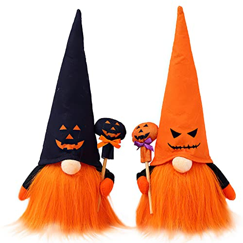 2PCS Halloween Gnomes Plush (2021 New),Swedish Handmade Gnomes Plush Standing Faceless Dolls,Ornaments Gnome Collectible Figurines for Home,Thanksgiving and More