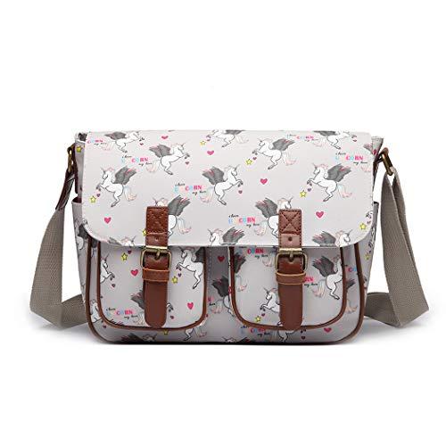Miss Lulu Umhängetasche Schulranzen Bookbag Wachstuch Vogel Blume Einhorn Cross-Body Handtasche (Einhorn Grau)