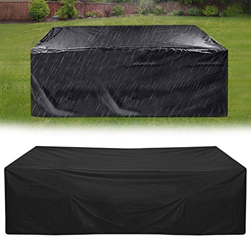 HSGAV Patio Furniture Covers Waterproof Rectangular, Outdoor Garden Table and Chairs Covers, 210D Oxford Tear-resistant, UV Resistant, Black,200x160x70cm