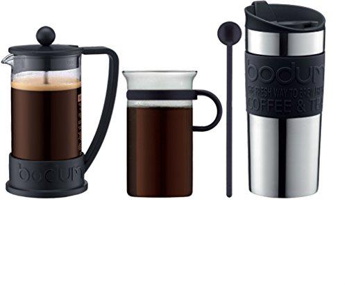 Bodum - K10948-01 - Coffe Set - Set de café - cafetera 3 Tazas - 0,35 l + mug de Viaje - 0,35 l + 1 Taza de Cristal - 0,3 l + 1 charilla - Color Negro