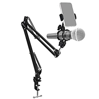 Hiquaty Mic Stand with Cell Phone Holder, Deskt...