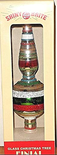 Shiny Brite Glass Christmas Tree Finial Topper Glittering Green,Red,Silver