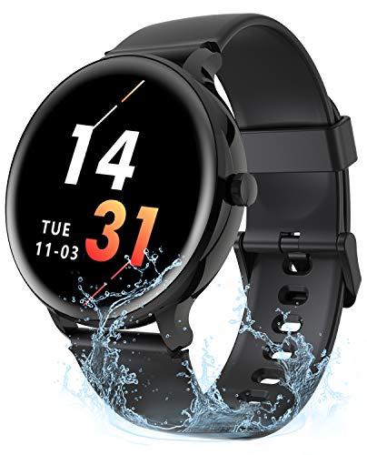 Gretel Smartwatch Herren Smartwatch Wasserdicht Fitness Tracker Damen Armbanduhr Jungen Kompatibel Android Smartwatch iOS mit Pulsuhr, Schlafmonitor, Musiksteuerung, Schrittzähler Schwarz