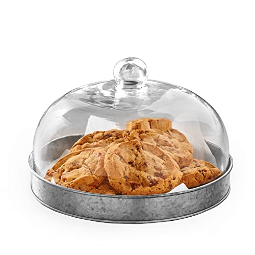 Glass Domed Serving Plate for Confectionery and Baked Goods - Galvanized