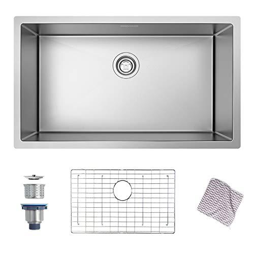 Kitchen Sink, MENSARJOR 32'' x 19'' Undermount Single Bowl 16 Gauge Stainless Steel Kitchen Sink with accessories