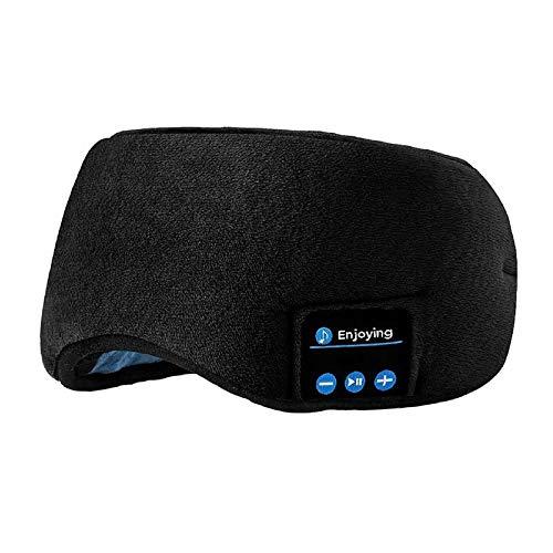 3D Bluetooth Schlafmaske Hifi Kopfhörer Drahtlose Lautsprecher Musik Augenmaske für Flugzeug Schlafen Reisen Entspannung (Color : Black)