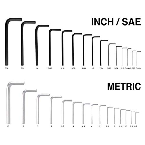 31 PCS Allen Hex Key Wrench Set, Torque Rod, Helping T-handle, Double Color Storage Case, Inch/Metric, 31-Piece, MM (0.7 mm-10 mm) S A E (0.028