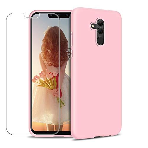 Funda Huawei Mate 20 Lite + Protector de Pantalla de Vidrio Templado, Carcasa Ultra Fino Suave Flexible Silicona Colores del Caramelo Protectora Caso Anti-rasguños Back Case - Rosa Claro