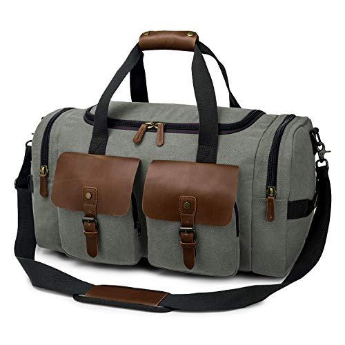 TAK Travel Bag Leather for Men and Women Holdall Bags Vintage wear-Resistant Leather Large Duffle Bag Weekend Gym Bag with Shoes Compartment Dark Green