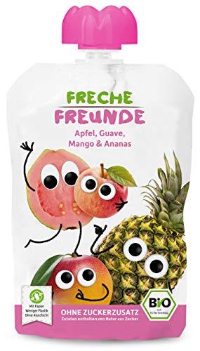 FRECHE FREUNDE Bio Quetschie Apfel, Guave, Mango und Ananas, Fruchtmus im Quetschbeutel für Babys ab dem 6. Monat, glutenfrei und vegan, 6er Pack (6x 100 g)