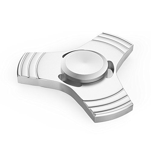 ATiC Fidget Spinner, Tri Fidget UFO Spinner Aluminum Hand Toy Stress Reducer with Speed Stainless Steel Bearing for ADD, ADHD, Autism Kids and Adults, Silver