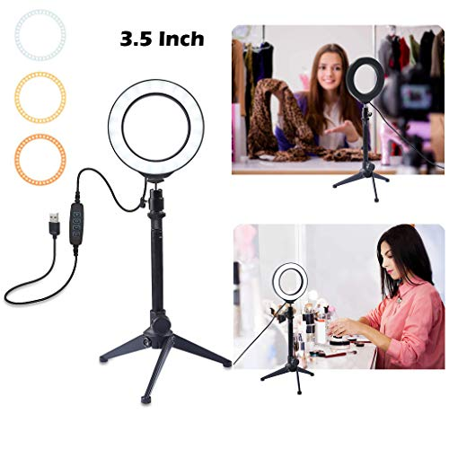 Ring Light 3.5 Inch with Tripod Stand USB 3 Modes LED Ring Video Photography for Live Stream Camera,Smartphone,YouTube,Self-Portrait,Shooting (Black)