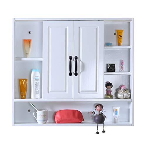 Badkameraccessoires Massief hout badkamer spiegelkast wc spiegel met plank wand-opbergkast, schuifdeur ontwerp, meerlaagse partitie (Color : White, Size : 80 * 15 * 80cm)