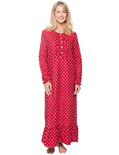 Long Nightgowns for Women Flannel Nightgown - Dots Diva Red - Medium