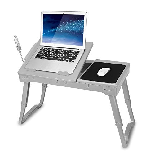 TeqHome Laptop Table for Bed, Adjustable Laptop Bed Desk with Fan, 4 USB Ports, Portable Lap Desk with Foldable Legs, Laptop Stand for Couch Sofa Bed Tray with LED Light, Storage, Mouse Pad - Grey