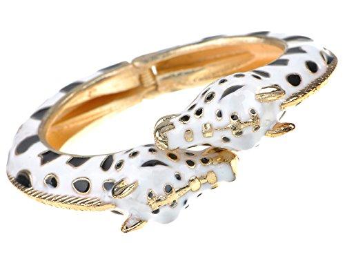 ALILANG Damen Gold Metall Legierung Weiß Schwarz Emaille Twin Giraffe Zebra Stulpe Armband Armreif