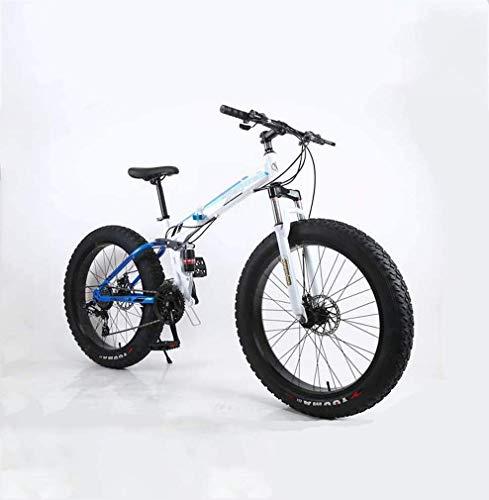 ZGYQGOO FoldingFat Pneumatici Mens Mountain Bike, da 17 Pollici Doppio Freno a Disco in Acciaio/High-Carbonio Telaio Bici, 7-27 velocità, 26 Pollici Ruote, off-Road Beach motoslitta Biciclette