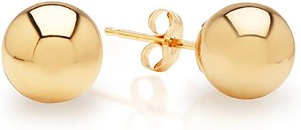 IcedTime 14k Yellow Gold Ball Stud Earrings pushback 3 4 5 6 7 8 10 12 IcedTime 14 MM (3 Millimeters)