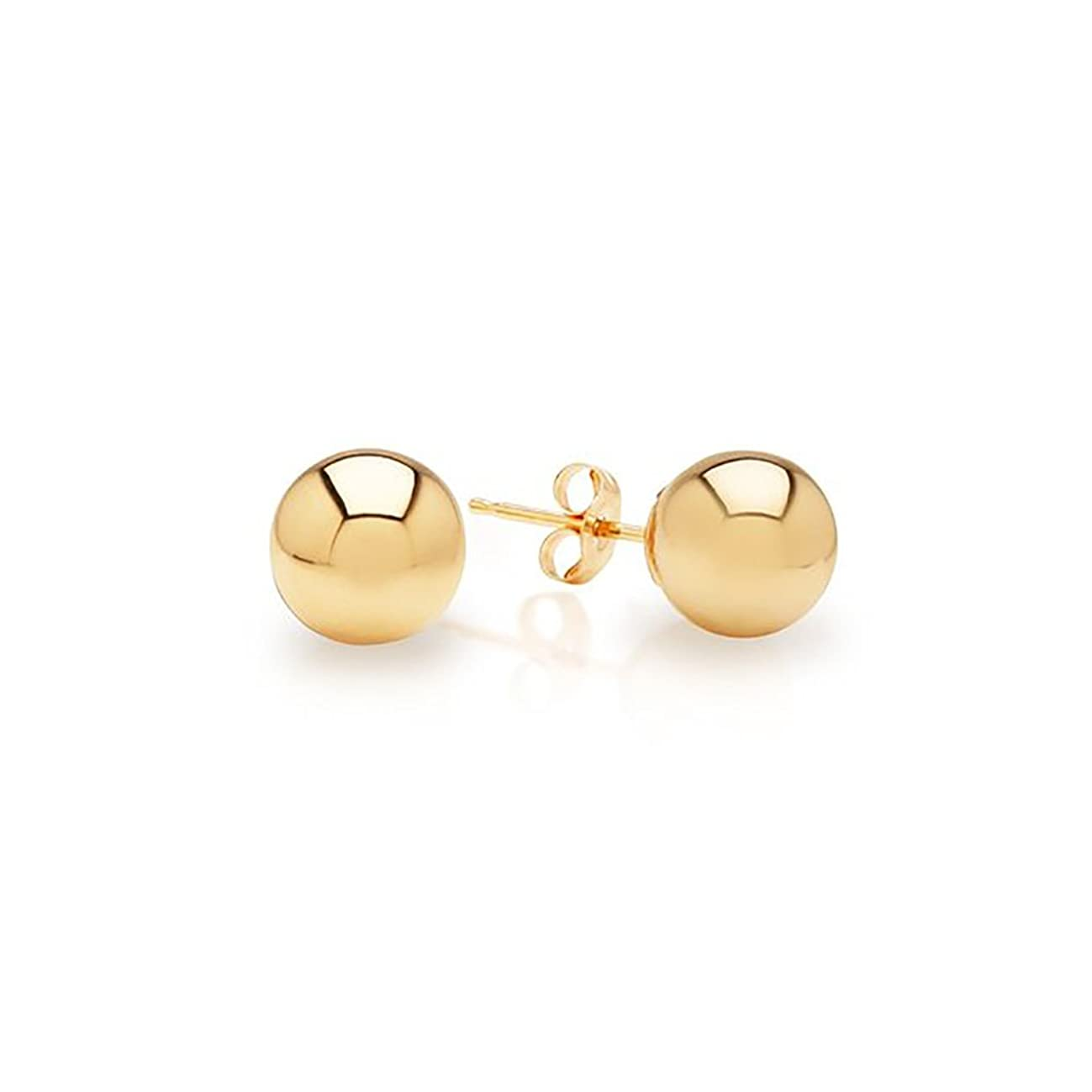 14k Yellow Gold Ball Stud Earrings pushback 3 4 5 6 7 8 10 12 14 MM