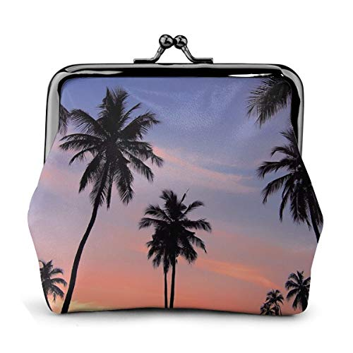 PecoStar Münzbörse Silhouette von Palmen für Damen, PU-Leder