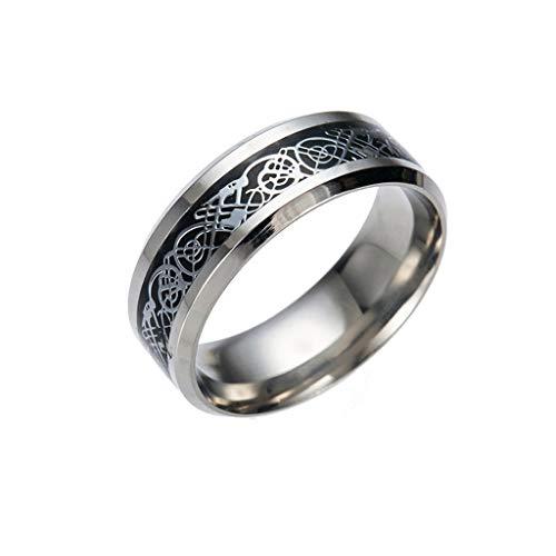 LABIUO Silber Drache Titan Streifen Unisex Ring Edelstahllegierungsring(C,Freie Größe