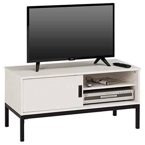 IDIMEX Lowboard TV Möbel Selma, Fernsehtisch Fernsehschrank im Industrial Design mit 1 Schiebetür 1 offenes Fach, Kiefer massiv, weiß