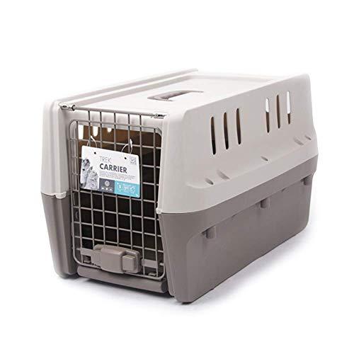 M-PETS Cage de transport Trek S - 58.5x39x35cm - Gris clair et foncé - Pour chien et chat