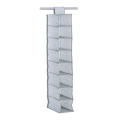 Zeller 14634 Hänge Aufbewahrung, 16 Fächer, grau, Vlies, ca. 18 x 30 x 105 cm