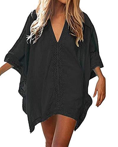 Vestido Playa Mujer Talla Grande Bohemio Hippie Chic Vestidos Manga 3/4 Murcielago con Volantes Escote V Tunica Piscina Caftan Corto Kaftan Etnico Kimono Dress Pareo Crochet Camisola Bikini Cover Up