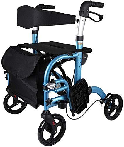 XXY.XXY Rollstuhl Lightweight Folding Adjustable Walker, altes Aluminium-Reisegürtelrad mit sitzendem Walker, vierrädriger Einkaufswagen