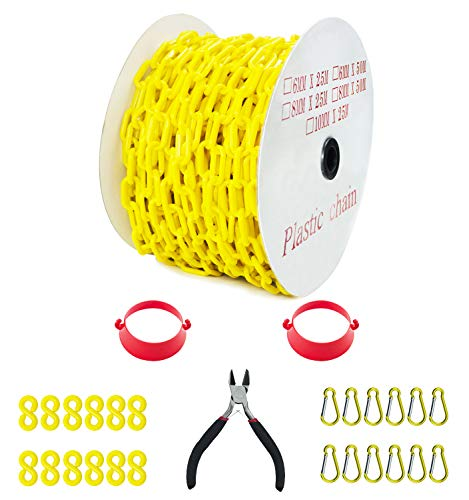 Reliabe1st 125 Feet Yellow Plastic Safety Barrier Chain with 12 S-Hooks | 12 Carabiner Clips | 2 Chain Connector | Caution Security Chain Safety Chain for Crowd Control, Construction Site