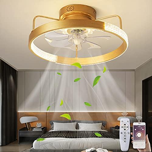 LED Ventilador De Techo Con Lámpara Moderno Lámpara De Techo Silenciosa Regulable Ventilador Iluminación Luz De Techo Ajustable Con Mando A Distancia Para Dormitorio Salón Lámpara Colgante (Gold)