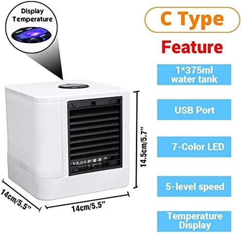 Tywk Mini Ventilador de refrigeración Aire Acondicionado portátil 7 Colores luz Oficina humidificador de Aire purificador de USB con Dos Tanques de Agua para la casa,VS