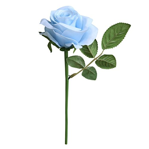 Coloré(TM) Fleurs artificielles 5 Pcs Artificielle Faux Rose Fleur Bouquet De Mariée Fête De Mariage Roses Home Decor (Bleu)