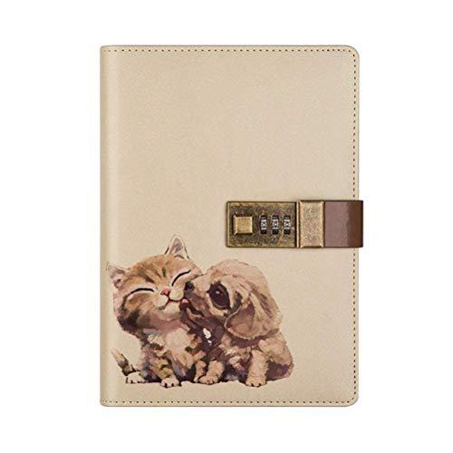 Travel notebook diario con lucchetto a combinazione, scrittura PU animali Awaits con portapenna per ragazzi e ragazze, ricaricabile, A5, A5, 112fogli Cat&Dog