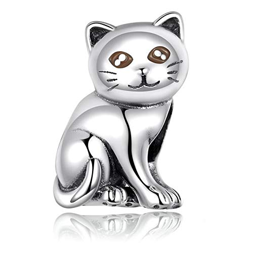 DW S925 Sterling Silver Hello Kitty (kitten) Style Charms Beads Fit Pandora Disney Jewelry (kitt)