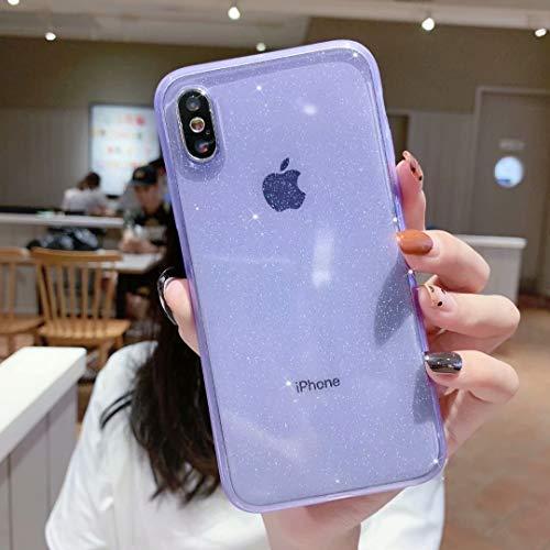 iPhone X/XS Case Glitter,Anynve Clear Bling Sparkle Case [ Anti-Shock Matte Edge Bumper Design] Cute Slim Soft Silicone Gel Phone Case Compatible for Apple iPhone X/Xs 5.8