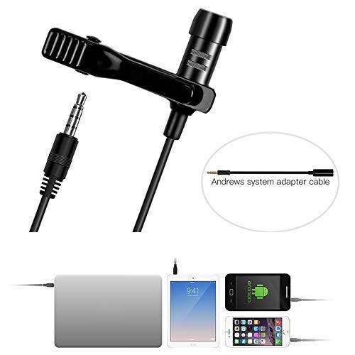 Lavalier-reversmicrofoon, omnidirectionele condensatormicrofoon, ruisonderdrukkende microfoon, voor iPhone/iPad/Mac/Android/smartphones/YouTube/interview/video