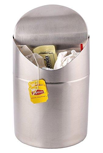 Estilo Mini Countertop Trash Can, Brushed Stainless Steel, Swing Top Trash Bin 1.5 L / 0.40 Gal - EST0159