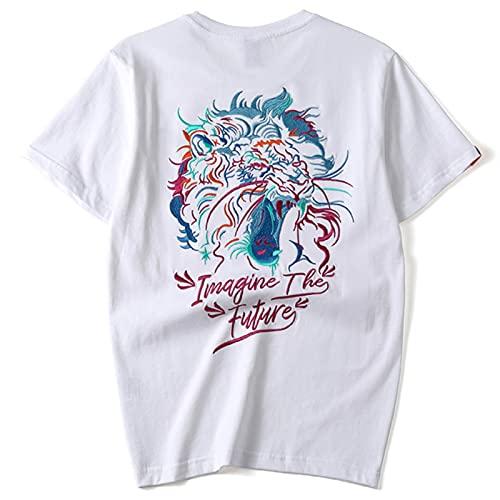 Verano Étnico Hombres Camiseta Color Tigre Cabeza Bordado 100% Algodón Negro Blanco Suelto Tee Tops, blanco, 50