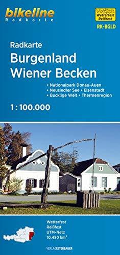 Burgenland - Wiener Becken: Nationalpark Donau-Auen – Neusiedler See – Eisenstadt – Bucklige Welt – Thermenregion, 1:75.000, wetterfest/reißfest, GPS-tauglich mit UTM-Netz (Bikeline Radkarte)