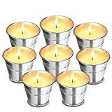 Godmorn Citronella Kerzen(8 Sätze),Kerze Outdoor und Indoor-Candles für Garten,Geeignet für Camping, Picknick, Yoga, Entspannung,Brenndauer 80-150 Stunden