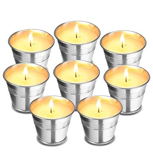 Godmorn Citronella Kerzen(8 Sätze),Kerze Outdoor und Indoor-Candles für Garten,Geeignet für Camping, Picknick, Yoga, Das beste Geschenk zur Entspannung,Brenndauer 80-150 Stunden
