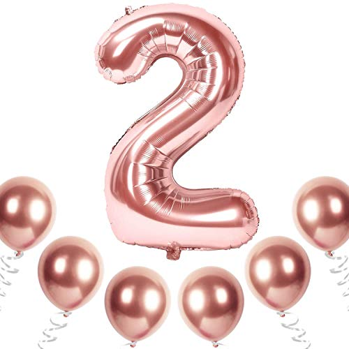 Yiran Rosa Oro Decorazioni per Feste di Compleanno per Adulti e Bambini, Rose Gold Numero Gigante 2 Palloncini Foil, Balloon di Lattice, Nastri-bianca Forniture per Feste