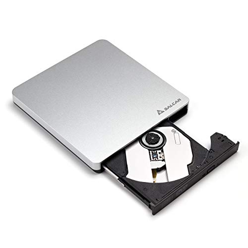 Salcar - Masterizzatore Unità di Scrittura DVD-RW USB 3.0 Esterno Optical DVD CD Super drive per Apple MacBook, MacBook Pro, MacBook Air o Altri PC/Laptop/Desktop, Argento