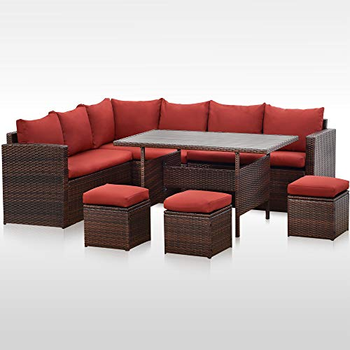 Wisteria Lane Patio Furniture Set,7 PCS Outdoor Conversation Set All Weather Wicker Sectional Sofa Couch Dining Table Chair with Ottoman, Wine Red