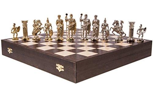 SQUARE GAME Schach Schachspiel - Roman LUX - Schachfiguren aus Metall - Schachbrett aus Holz
