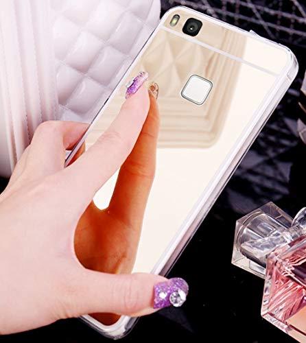 Jinghuash Funda Compatible con Huawei P9 Lite,Protectora Ultra Delgado Choque Absorción Anti-Arañazos Case Suave TPU Silicona Gel Bumper Transparente Cover con Efecto Espejo,Plating Espejo Ser