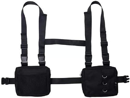 Men Vest Hip Hop Streetwear Bag Harness Chest Rig Bag Unisex Oxford Two Pockets Women Waist Fanny Pack Nylon Black